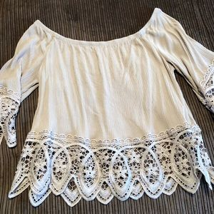 Cotton light weight off the shoulder blouse